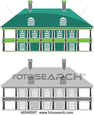 French Colonial Style House : french, colonial, style, house, Buildings, French, Colonial, House, K8349597, Fotosearch