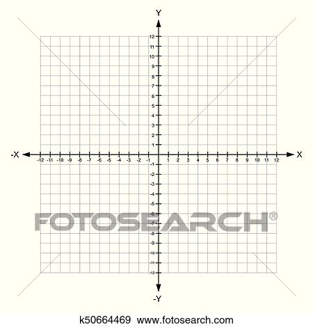 Clip Art of blank x and y axis Cartesian coordinate plane