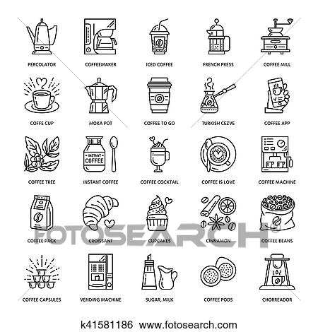 Vector line icons of coffee making equipment. Elements