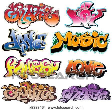 Clipart of Graffiti urban art vector set k8388464 Search