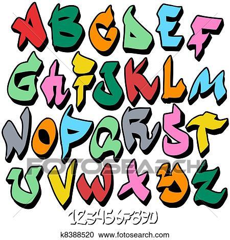 Clipart of graffiti font alphabet k8388520 Search Clip