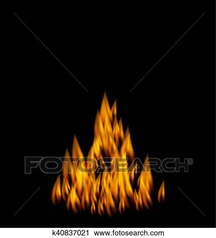 realistic fire flame on
