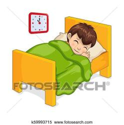 boy sleeping bed clipart vector isolated fotosearch clip blanket graphic