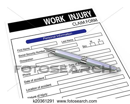 Clipart of 3d pen and work injury claim form k20361291