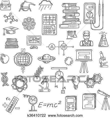 Clipart of Physics, chemistry and astronomy science