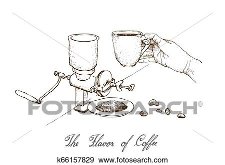 Hand Drawn of Manual Coffee Grinder with Coffee Clip Art