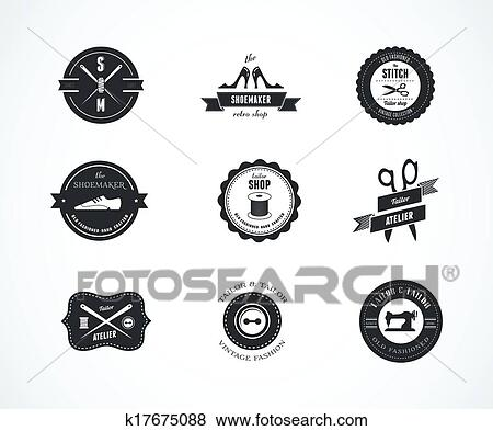 Vintage sewing labels, elements and badges Clip Art