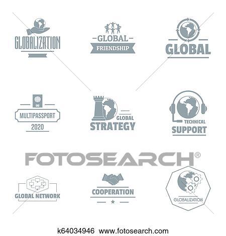 Industriel, soutien, logo, ensemble, simple, style Banque