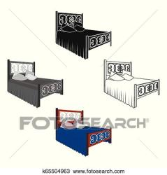 Wooden bed for teenager with graffiti on the back Bed with blue linens Bed single icon in cartoon style vector symbol stock illustration Clipart k65504963 Fotosearch
