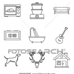 Dog Diagram Outline Large Softball Positions Stock Illustration Of Comfortable House Icons Set Style Fotosearch Search Vector Clipart