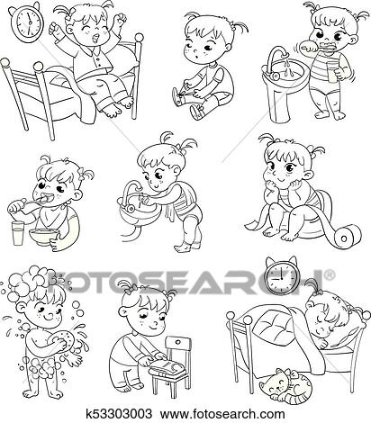 Clipart of Cartoon kid daily routine activities set