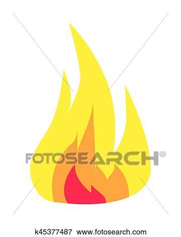 Brennender Flamme Symbol Freigestellt Weiß Hintergrund Clip Art