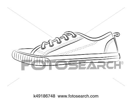 Clip Art of Hand drawn sketch of sport shoes, sneakers for