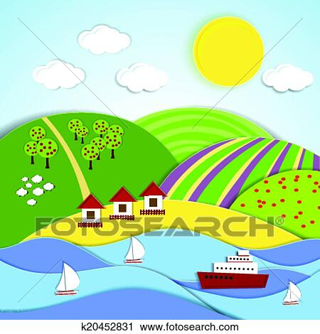 Clipart  vettore paesaggio di mare sole e colline verdi k20452831  Cerca Clipart