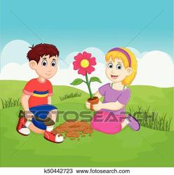 Funny children cartoon planting in the garden Clipart k50442723 Fotosearch