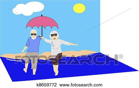 clipart of mature couple enjoying