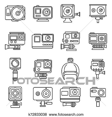 Digital action camera icons set, outline style Clip Art