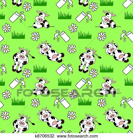 seamless cow background clipart