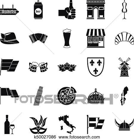 Vieux, europe, icônes, ensemble, simple, style Clipart