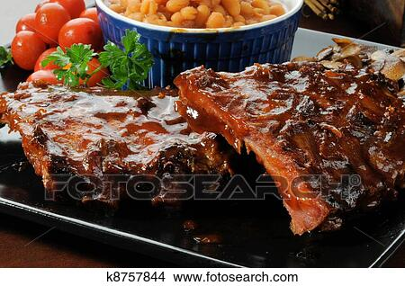 Baby back ribs Picture   k8757844   Fotosearch