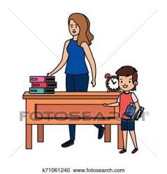 student happy desk teacher boy female fotosearch clipart vector