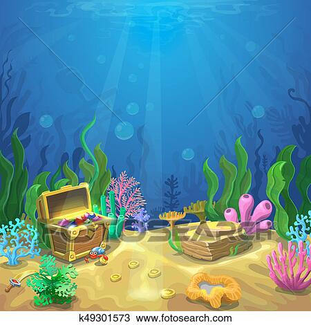 Disegno  subacqueo paesaggio il oceano e il