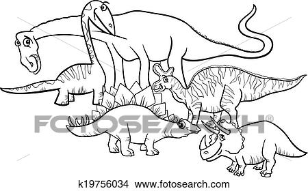 Clipart of cartoon dinosaurs coloring page k19756034