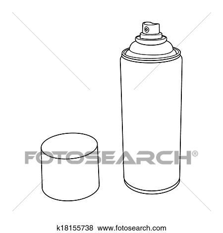 Clip Art of Spray Paint Can outline vector k18155738