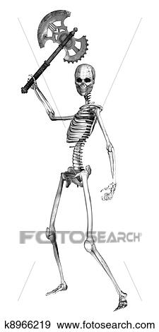 Stock Illustration of Skeleton with an Axe k8966219