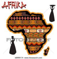 Drawings of Africa traditional map k8999174 - Search Clip ...
