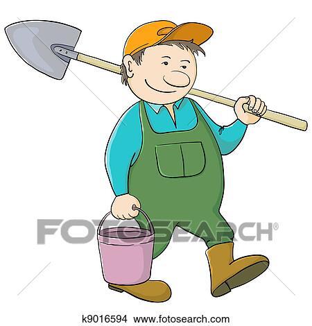 Disegni  uomo giardiniere con secchio e pala