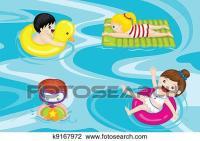 Clipart - kinder, in, schwimmbad k9167972 - Suche Clip Art ...