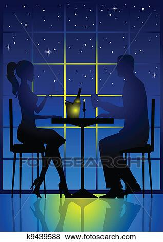 clip art of candle light dinner
