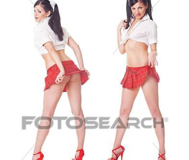Stock Photography Two Cute Sexy Schoolgirls Playing With Skirt Full Length Isolated Over White