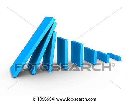 グラフ. 下降. そして. ドミノ 効果 イラスト | k11056534 | Fotosearch