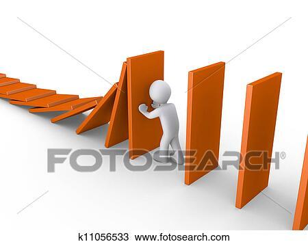 人. ストップする. ドミノ 効果 スケッチ | k11056533 | Fotosearch