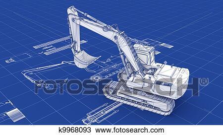 挖掘機, 藍圖 種類最齊全的圖像 | k9968093 | Fotosearch