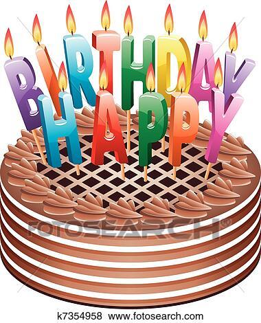 生日, 巧克力蛋糕 美工圖案 | k7354958 | Fotosearch
