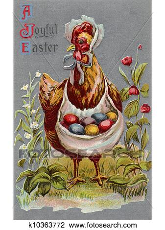 Clip Art Of A Vintage Easter Postcard Of A Hen Carrying