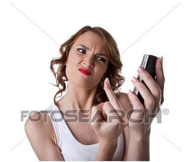 Anger Young Woman Show Fuck Finger On Cell Phone Isolated