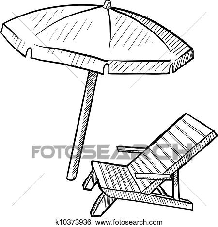 beach chair and umbrella clipart black folding chairs target clip art of sketch k10373936 search fotosearch illustration posters