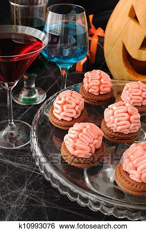 Cookies with marzipan brains for Halloween Stock Photograph | k10993076 | Fotosearch