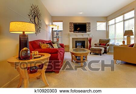 elegant living rooms with fireplaces elle decor small stock photo of room red sofa fireplace tv and many windows