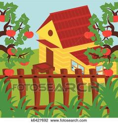 House and apple garden Clipart k6427692 Fotosearch