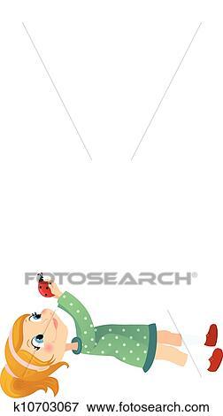 clip art of girl and ladybug k10703067