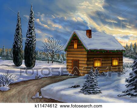 Clip Art of Christmas landscape k11474612  Search Clipart