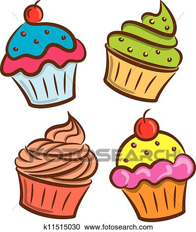 clipart of colorful cupcake icon