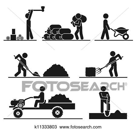 Drawing of Pictograms representing people doing field and
