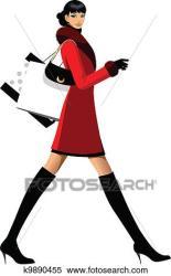 Side view of woman walking Clipart k9890455 Fotosearch