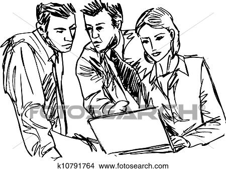 Clipart of Sketch of successful business people working
